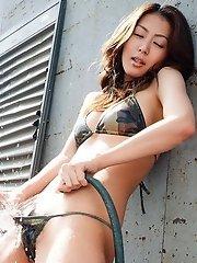 Honoka models her lingerie for fucking