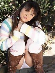 Naughty Masami Kanno enjoys modeling her twat