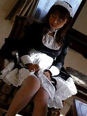 Slutty Japanese maid likes fucking on the job
