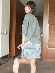 Horny and cute Japanese av idol Riku Murata wants to have sex before you to go work