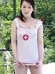 Sexy Japanese nurse Machiko enters the room