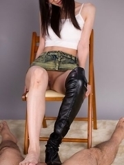 Ayaka Mikami using her combat knee-length leather boots and feet for a FJ