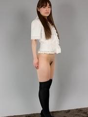 Black socks teen Yukari Toudou gets her meaty thighs fucked hard from behind