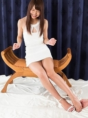 Flat-chested JAV sensation Shino Aoi using her hairy pussy to make him cum