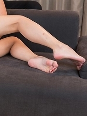 Short-haired beauty Chie Kobayashi gets this dude to cum all over her sexy soles