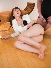 Aya Kisaki looks petrified as this dude blows his load on her sexy soles