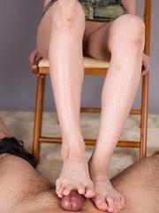 Ayaka Mikami using her perfect feet to jerk this dude's meaty dick here