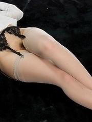 Leggy babe Ruru Sakurai using her perfect feet in stockings to get him to cum