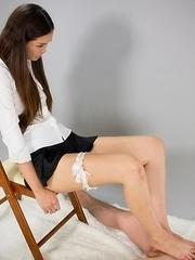 Garter-wearing stunner Madoka Yukishiro using her soft soles to tease that cock