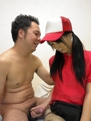 Miku Oguri strokes cock and has tits touched