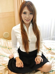 Mie unbuttons her top to unleash her pair of natural big breasts and enjoys riding a dick