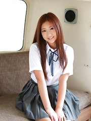 Ayaka Sayama with beautiful smile and hair is very playful