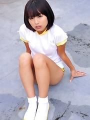 Ran Sakai in white t-shirt shows nasty behind in shorts