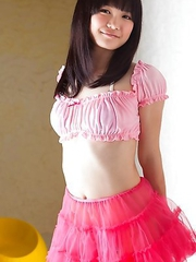 Ai Eikura takes fluffy skirt off and shows naughty behind