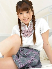 Mizuho Shiraishi with pigtails is so playful in uniform
