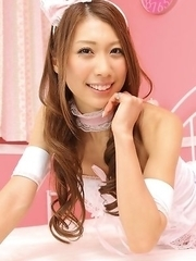 Reika Miki in pink fluffy lingerie is always smiling queen
